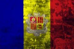 Nationale vlag van Andorra op de achtergrond van de oude muur vector illustratie