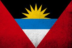 Nationale vlag van Antigua en Barbuda Kan als prentbriefkaar worden gebruikt royalty-vrije illustratie
