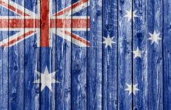 Nationale vlag van Australië op oude houten achtergrond Stock Foto's