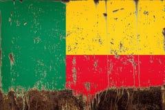 Nationale vlag van Benin op metaaltextuur royalty-vrije stock fotografie