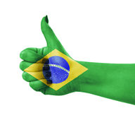 Nationale vlag van Brazilië op hand Royalty-vrije Stock Foto's