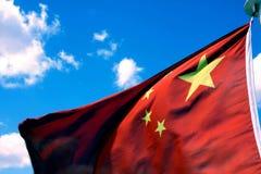 Nationale vlag van China en wolken Stock Afbeelding