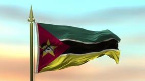 Nationale Vlag van het mozambic golven in de wind tegen de van de achtergrond zonsonderganghemel langzame motie Naadloze Lijn vector illustratie