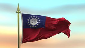 Nationale Vlag van Myanmar - Birma die in de wind tegen de van de achtergrond zonsonderganghemel langzame motie Naadloze Lijn gol royalty-vrije illustratie