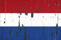 Nationale vlag van Nederland op de achtergrond van een oude mettale vector illustratie