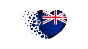 Nationale vlag van Nieuw Zeeland in hartillustratie Met liefde aan het land van Nieuw Zeeland De nationale vlag van de vlieg van  royalty-vrije illustratie