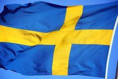 Nationale vlag van Zweden Stock Foto