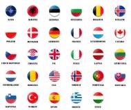 Nationale vlaggen van de leden van de NAVO Stock Afbeeldingen