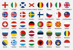 Nationale vlaggen van Europese landen met titels royalty-vrije illustratie