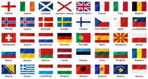 Nationale vlaggen van Europese landen met titels vector illustratie