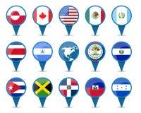 Nationale vlaggen van Noord-Amerika Royalty-vrije Stock Fotografie