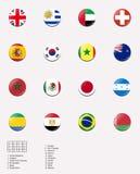 Nationale vlaggen voor het spel van de mensenvoetbal in Londen Oly Stock Afbeelding