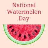 Nationale Watermeloendag 3 August Slice van watermeloen Textuur van de watermeloen met zaad o Stock Foto
