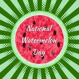 Nationale Watermeloendag 3 die August Watermelon in de helft wordt gesneden Achtergrondpop-art, stralen van het centrum Textuur v Royalty-vrije Stock Afbeeldingen