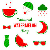 Nationale Watermeloendag Reeks vectorelementen voor de vakantie Plaats voor tekst Stock Foto