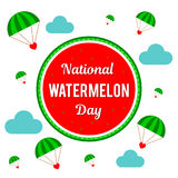 Nationale Watermeloendag Vectorillustratie voor de vakantie Plaats voor tekst Royalty-vrije Stock Foto's