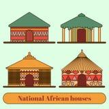 Nationale Wohnungen H?user und H?tten in einem afrikanischen Dorf Flache Linie Art Abbildung stock abbildung
