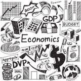 Nationalekonomi och finansiell utbildningshandskrift klottrar symbolen av förbudet stock illustrationer