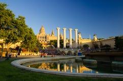 Nationaler Art Museum und magischer Brunnen, Barcelona, Katalonien, SP lizenzfreie stockbilder
