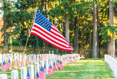 Nationaler Friedhof mit einer Flagge am Volkstrauertag in Washington, USA Stockfotos