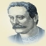 Nationaler Kulturheld von Porträt Ukraine Ivan Franko Makroabschluß oben des hryvnia Banknotenelements lizenzfreie stockfotografie