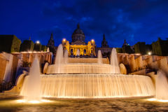 Nationaler Palast-Barcelona-Brunnen Stockfotos