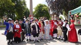 Nationaler Stadt-Ausrufer Competition hielt Exmouth Devon in Süd- West-England-Sommer 2018 lizenzfreie stockfotos