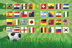 Nationaler Team Flags für Fußball 2014 auf Grashintergrund- und -Fußball32 Nationen vektor abbildung