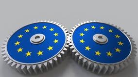 Nationales Projekt Flaggen der EU der Europäischen Gemeinschaft auf beweglichen Zahnrädern Begriffswiedergabe 3d vektor abbildung