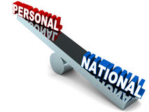 Nationalism. Personal vs national interest , nationalism concept, national interest weighing higher than personal interests Stock Image