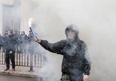 Nationalist groups burn flares during March of Dignity in Kiev Stock Photo
