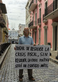 Nationalist political activist addresses the Governor. SAN JUAN, PUERTO RICO - MARCH 8, 2015: Lone nationalist political activist addresses the Governor. He Stock Image