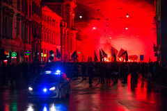 Nationalists protest in center of Krakow. About 3.000 people took part in March of Free Poland. Royalty Free Stock Photography
