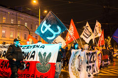 Nationalists protest in center of Krakow. About 3.000 people took part in March of Free Poland. Stock Images