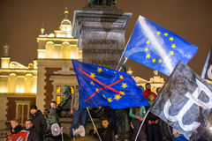 Nationalists protest in center of Krakow. About 3.000 people took part in March of Free Poland. Royalty Free Stock Images