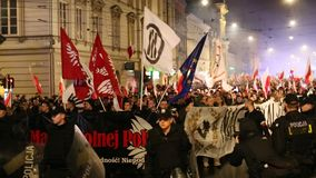 Nationalists protest in center of Krakow. About 3.000 people took part in March of Free Poland. stock video footage
