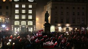 Nationalists protest in center of Krakow. About 3.000 people took part in March of Free Poland. stock video