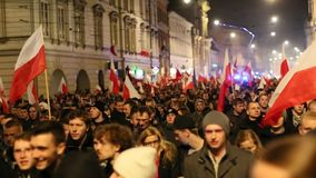 Nationalists protest in center of Krakow. stock video footage