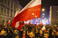 Nationalists protest in center of Krakow. Royalty Free Stock Images