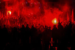 Nationalists protest in center of Krakow. Stock Photography