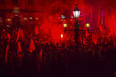 Nationalists protest in center of Krakow Royalty Free Stock Photo