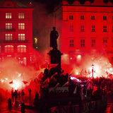 Nationalists protest in center of Krakow. Royalty Free Stock Photos