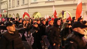 Nationalists protest in center of Krakow stock video