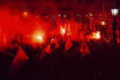 Nationalists protest in center of Krakow. Stock Image