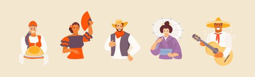 Nationalities avatars vector. Collection of avatars of different nationalities. Russian, Spanish, American, Japanese and Mexican characters in national costumes stock illustration