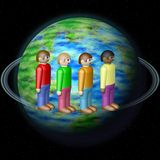 Nationalities on Earth globe Stock Images