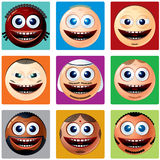 Nationality Smiley Icons. Vector Set of Smileys. Various Cartoon Man Faces with Different Ethnicity Royalty Free Stock Photography