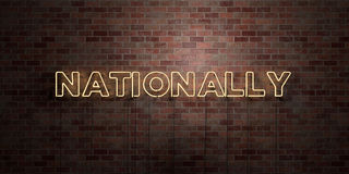 NATIONALLY - fluorescent Neon tube Sign on brickwork - Front view - 3D rendered royalty free stock picture Royalty Free Stock Image