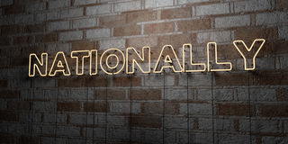 NATIONALLY - Glowing Neon Sign on stonework wall - 3D rendered royalty free stock illustration Royalty Free Stock Photo