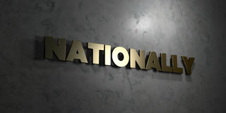 Nationally - Gold text on black background - 3D rendered royalty free stock picture Royalty Free Stock Photography